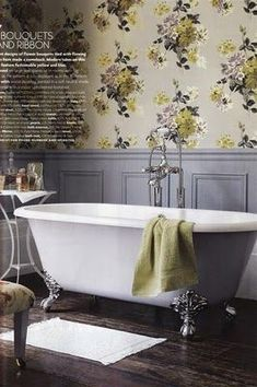 Beautiful country wallpaper with pale lilac wainscoting paneling. If you like this, why not head on over to www. for more modern country design inspiration, plus get FREE access to our home design resource library. Vintage Bathroom Decor, Victorian Bathroom, Vintage Bathrooms, Rustic Bathrooms, Bathroom Ideas, Bathroom Images, Bathroom Sinks, Bathroom Storage, Modern Bathroom