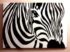 Zebra canvas acrylic painting by PatrissaArt.deviantart.com on @deviantART