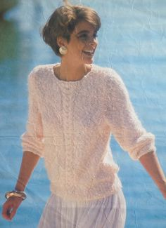6d35a4be94169 Ladies Woman s Mohair Cable Crew Round Neck Knitting Pattern size 34-40in  by makenshare on Etsy