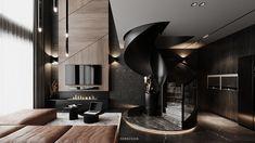DUPLEXAPARTMENT on Behance Duplex Apartment, Apartment Interior, Modern Interior, Interior Ideas, Interaction Design, Graphic Design Illustration, Minimalist Design, Behance, Kitchen Appliances