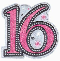 "Sweet 16 Sparkle Glitter Cutout Decoration - 15.5"" tall x 14.5"" wide"