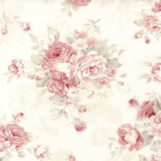 Dollhouse Miniature Shabby Chic Wallpaper Pink Roses on Cream Vintage Paper, Vintage Flowers, Floral Flowers, Shabby Chic Tapete, Scrapbook Paper, Scrapbooking, Shabby Chic Wallpaper, Background Vintage, Pattern Background