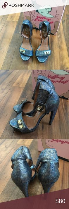 """Jeffrey Campbell Metallic Heels In excellent condition, worn once for a dinner date. Soles are in good condition. *Height: 9.75""""  *Heel Height: 5.75""""  *Platform Height: 1.25""""  *Runs true to size  *Imported  ✨No trades. Pictures are of actual product and item is still available if it is listed. Please make offers by clicking on the Offer button below. All offers made in comments will not be responded to.     Love cherise.com Jeffrey Campbell Shoes Heels"""