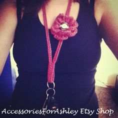 Handmade Pink Flower Crochet Lanyard Jennings You could totally make these! Crochet Craft Fair, Crochet Gifts, Hand Crochet, Crochet Hooks, Free Crochet, Knit Crochet, Crochet Things, Knitting Projects, Crochet Projects