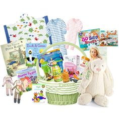 Easter Basket for Babies... Good ideas! I already have that duck & goose book, and that bunny in a darker color! Maybe add some bubbles too!
