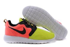 Nike Roshe Run Hyperfuse Fluorescent Yellow Red Black Women Shoes