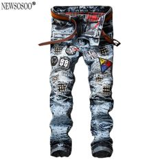 Newsosoo men's biker jeans Design Fashion Biker Runway Hiphop Slim Jeans For Men Cotton Good Quality Motorcycle Jeans MJ109