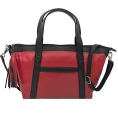 Ili Leather Tote Handbag Red Black