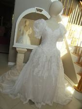 Vintage Mori Lee white wedding gown with lace sequins beads