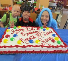 """Cake time. :-)    Saturday, we celebrated our 21st birthday! Throughout our 21 years, we have provided a """"home-away-from-home"""" for over 6,400 families. Thanks to everyone who helped make that possible!"""