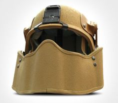 The Ballistic Protective Maxillofacial Shield, made by Gentex Corporation, is a piece of personal protective equipment made to shield a Marine's face from shrapnel and other ballistic threats faced on today's battlefield. Military Armor, Military Gear, Tactical Survival, Survival Gear, Tactical Helmet, Tac Gear, Tactical Equipment, Cool Gear, Body Armor
