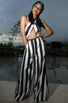 Striped jumpsuit by 'YC'... www.ycglamhead.bigcartel.com