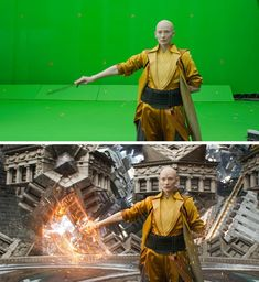17 Times Where Behind-the-Scenes Shots and the Actual Movie Scenes Seem to Belong to Different Worlds , Jurassic World, Marvel Funny, Marvel Dc, Film Composition, Friend Poses Photography, Chroma Key, Planet Of The Apes, Marvel Actors, Movies