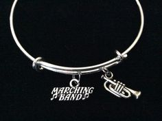 Marching Band Silver Trumpet Charm Expandable Bracelet Adjustable Wire Bangle Gift Trendy Musician Music teacher Notes Handmade Inspired