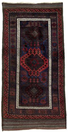 "Antique Baluch rug, Late 19th century, Origial/very good condition, Great natural colors, Shiny wool, Not restored, Size: 205 x 100 cm. 81"" x 39"" inch."