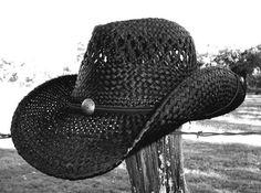New Rock Star Rock N Roll Cowboy Shapeable Western Raffia Straw River Hat  Black  9650be106ad5