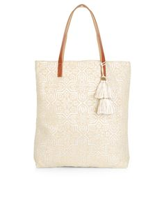 Alanya Foiled Leather Handle Shopper Bag | Nude | Accessorize