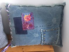 Frayed Denim cushion recycled jeans hand made batik patch lace up tie dye