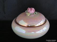 Kispesti porcelán rózsafogós lüsztermázas bonbonier