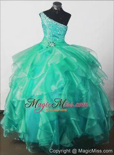 wholesale elegant beading ball gown one-shoulder floor-length little girl pageant dress