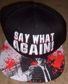 e4dbfdf8 PULP FICTION SAY WHAT AGAIN SNAPBACK HAT FLAT BRIM CAP NEW SPENCER'S # SPENCERS #BaseballCapTrucker