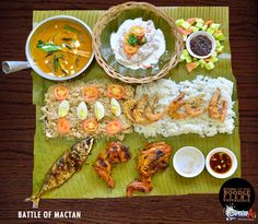 Battle Of Mactan Good for 4-6 Pax 1,368 ONLY! Filipino Food Party, Filipino Dishes, Filipino Recipes, Potluck Food, Potluck Recipes, Boodle Fight Party, Foods To Eat, I Foods, Nasi Liwet