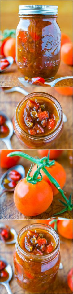 One-Hour Sweet with Heat Tomato & Pepper Chutney (vegan, GF) - For when you have more tomatoes on hand than you know what to do with! Great as a dip or on sandwiches!