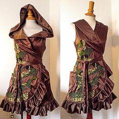 Xylia serpentine wrap around big hoodie forest green dress