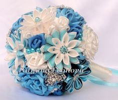 5 Bridesmaids Fabric Flower Bouquets Brooch bouquets Blue by LIKKO