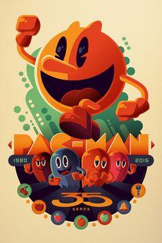 PAC-MAN : 35th ANNIVARSARY - Tom Whalen Illustration and Design www,strongstuff.net