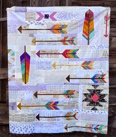 Feathers and arrows quilt Native American Blanket, American Quilt, Sewing Hacks, Sewing Crafts, Sewing Tips, Paper Piecing Patterns, Quilt Patterns, Arrow Quilt, Southwest Quilts