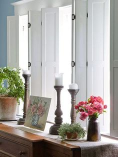 Vintage-Inspired Makeover Is a Must-See indoor shutters - may be the only cat proof privacy option. My cat is named Diablo for a reasonindoor shutters - may be the only cat proof privacy option. My cat is named Diablo for a reason Bedroom Curtains With Blinds, Bedroom Windows, Bedroom Shutters, Diy Shutters, Bathroom Curtains, Interior Wood Shutters, Indoor Shutters, Vintage Inspiriert, Kitchen Window Treatments