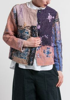 By Walid - Custom Silk Waist Jacket in Pink/Purple