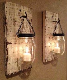Candle Lit Mason Jars