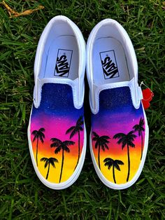 Warm color tones to make you stand out, and palm trees to give a nice tropical vibe. What you get is a shoe hand painted with high quality acrylic paint and sprayed with a finish that will insure the paint stays Permanente. Disney Painted Shoes, Painted Canvas Shoes, Custom Painted Shoes, Painted Sneakers, Painted Vans, Vans Slip On Shoes, Custom Vans Shoes, Vans Shoes Fashion, Fashion Outfits
