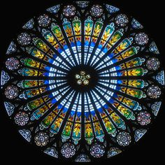 Rose window at the West facade of Strasbourg Cathedral.