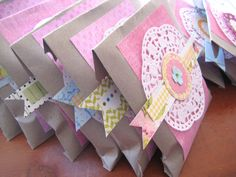 Party Favor Bags Decorated Embellished Sweet bags - Birthdays Baby Showers Party Parties fun Sweet favors. $15.00, via Etsy.