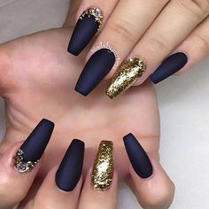 Matte black with gold coffin nails. For similar content follow me @jpsunshine10041