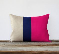 As seen in Country Living Magazine - Color Block Pillow in Hot Pink, Navy and Natural Linen by JillianReneDecor (March 2013, pg. 117) #Etsy #CountryLiving #colorblock #stripe #pillow