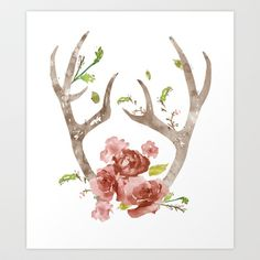 "With some ""tweaking"" this could make a Pretty tattoo  Floral Antlers Art Print by daniroxanne"