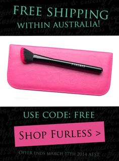 OFFER ENDS TOMORROW! Furless is offering our Australian friends FREE flat rate shipping, to anywhere within Australia. All you need to do is enter the coupon code: FREE at the checkout - SHOP FURLESS > http://furlesscosmetics.com.au/cruelty-free-cosmetics