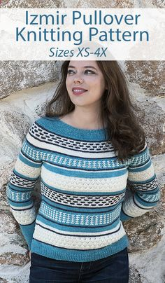 Stashbuster Knitting Pattern for Izmir Pullover Sweater Sizes XS-4X - Textured women's sweater featuring stripes of different slipped stitch patterns. Worked in the round from the top down. Designed for three colors of fingering or sport-weight yarn, you could also use more colors, so it's great for stashbusting. Sizes: XS (S) M (L) XL (2X) 3X (4X). Designed by Irina Anikeeva. Poncho Sweater With Sleeves, Poncho Tops, Long Sleeve Tunic, Pullover Sweaters, Sweater Knitting Patterns, Knit Patterns, Stitch Patterns, Zig Zag Dress, Sport Weight Yarn