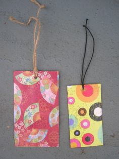 recycled clothing tags- bookmarks