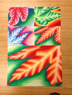 Warm vs Cool oil pastel leaves .•.art, paint, project, drawing.•.