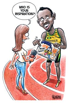 Gatis Sluka www.karikatura.lv usain bolt usain mycartoons inspiration bolt olympics olympic Rio olympics rioolimpico rio2016 running 100m road runner roadrunner looney tunes looney toons jamaica sprint sprinter interview
