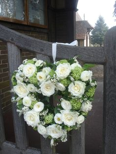 White and green heart wreath