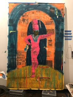 Derek Fordjour, <em>The Drum Major</em> (2017), process shot. Photo courtesy of Derek Fordjour.