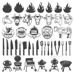 Buy Set of BBQ and Grill Labels and Design Elements by Kotliar on GraphicRiver. Set of BBQ and Grill labels and design elements. Bull and cow heads, butcher tools, grills, fire icons. Logo Label, Label Design, Logo Design, Grill Logo, Tool Tattoo, Bbq Menu, Food Menu Design, Cow Head, Teacher Signs