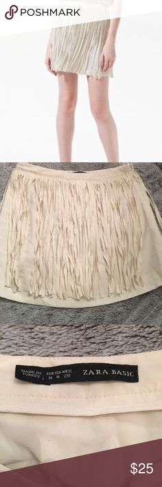 Zara fringe mini skirt cream off white Excellent condition Zara Skirts Mini