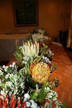Wedding flower arrangements Protea's and Pincushions Monchique Boutique Guest House Muldersdrift Wedding Flower Arrangements, Wedding Flowers, Star Awards, Pincushions, Wedding Accessories, In This Moment, Table Decorations, Boutique, Holiday